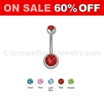 Grade 5 Solid Titanium Double Jeweled Navel Ring