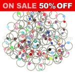 100 Piece Acrylic Captive Ring Assortment (18ga 16ga 14ga)
