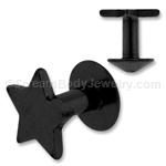 Grade 23 Black Titanium Dermal Skin Diver with Star Top (16ga)