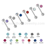 316L Surgical Steel Barbell with 6mm Gemset Ball
