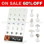 24 Unit Display of Assorted Sterling Silver Tragus Studs on PTFE Shaft 16G 5/16in