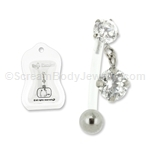 PTFE Reverse Crystal Solitare Dangle Navel Bar 14G 7/16