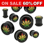 Acrylic Rasta Leaf Single Flared Plugs (1 Pair)