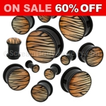 Acrylic Tiger Print Single Flared Plugs (1 Pair)