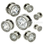 Steel Multi-Gem Rim Screw Fit Tunnels with Inset Crystal Star (1 Pair)