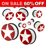 Acrylic White Star on Red Foil Single Flared Plugs (1 Pair)