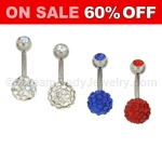 316L Surgical Steel Navel Ring with Swarovski Multi-Crystal Ferido Ball