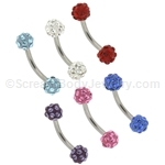 316L Surgical Steel Curved Eyebrow Bar with 3mm Swarovski Multi-Crystal Ferido Balls