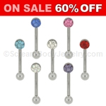 316L Surgical Steel Curve Eyebrow Bar with Flat Austrian Crystal Pave Ferido Gem Top