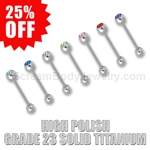 Grade 23 Solid Titanium Barbell with 6mm Gemset Top