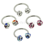 316L Surgical Steel Circular with Multi-Gemset Balls