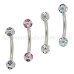 316L Surgical Steel Eyebrow Curve with Multi-Gem 4mm Balls