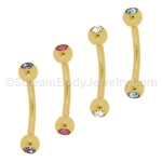 Gold Plated Eyebrow Curve with 3mm Gemset Balls