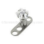 Grade 23 Titanium Dermal Anchor with Prong Set Crystal Star Top