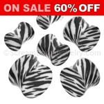 Acrylic Zebra Stripe Double Flared Saddle Plugs (1 Pair)