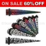 Acrylic Zebra Animal Print Tapers (1 Pair)