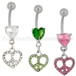 Pave Gem Peace Sign in Heart Navel Dangle