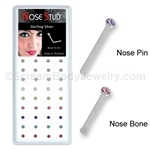 Sterling Silver Nose Stud with 1mm Cup Set Crystal - Assorted Colors (Box of 40)