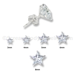 Sterling Silver C.Z. Star Stud with Light Weight Setting