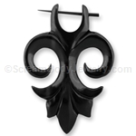 Organic Hand Carved Flur de le Horn Tribal Earring (1 Pair)