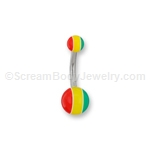 Acrylic Rasta Navel Bar
