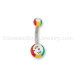Acrylic Rasta Navel Bar with Crystals