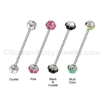 316L Surgical Steel Multi-Crystal Industrial Barbell
