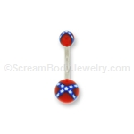 Acrylic Confederate Flag Navel Bar