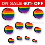 Single Flared Acrylic Gay Pride Rainbow Plug with O-Ring (1 Pair)