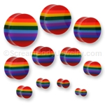 Double Flared Acrylic Gay Pride Rainbow Plug (1 Pair)