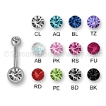 Internally Threaded 316L Surgical Steel Gem Set Navel Bar