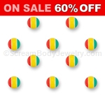 10 Pack of Acrylic Rasta Balls