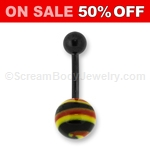 Blackline Anodized Navel Ring with Glass Ball