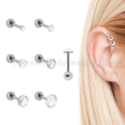 Externally Threaded 316L Surgical Steel Triple Helix Cartilage/Tragus Stud with Low Profile Gem Top