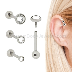 Internally Threaded 316L Surgical Steel Triple Helix Cartilage/Tragus Stud with Low Profile Gem Set Disc Top