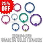 High Polish Grade 23 Solid Titanium Captive Bead Ring