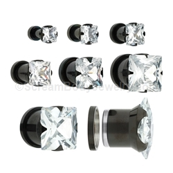 Blackline Titanium Screw-Fit Tunnel with Prong-Set Square Crystal (1 Pair)