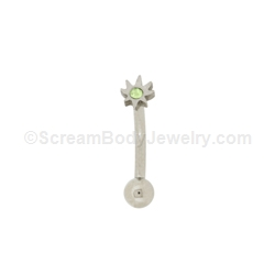 316L Surgical Steel Curved Eyebrow Bar with Crystal Pot Leaf