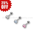 Cartilage Stud with Round Prong Set Crystal