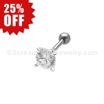 Cartilage Stud with Prong Set Crystal